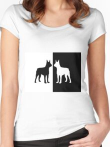 Black white dogs Women's Fitted Scoop T-Shirt