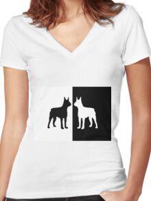 Black white dogs Women's Fitted V-Neck T-Shirt