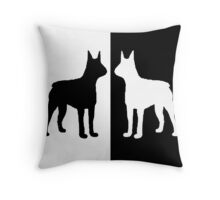 Black white dogs Throw Pillow