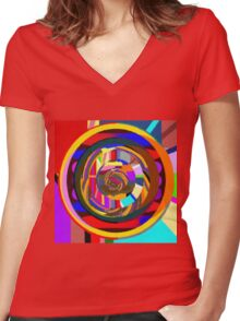 Daavi's Color Wheel Women's Fitted V-Neck T-Shirt