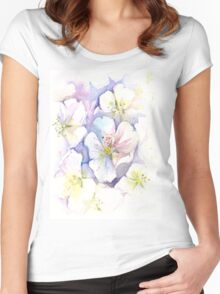 Cherry Blossoms Watercolor Women's Fitted Scoop T-Shirt
