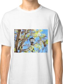 Street Lantern And White Tree In Blossom Classic T-Shirt