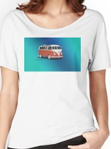 21 Window VW Bus Samba Bus Red White w Blue Backgr Women's Relaxed Fit T-Shirt