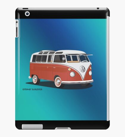 21 Window VW Bus Samba Bus Red White w Blue Backgr iPad Case/Skin