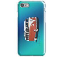 21 Window VW Bus Samba Bus Red White w Blue Backgr iPhone Case/Skin