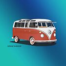 21 Window VW Bus Samba Bus Red White w Blue Backgr by Frank Schuster