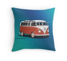 21 Window VW Bus Samba Bus Red White w Blue Backgr Throw Pillow