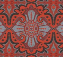 """Sliced pomegranat"" organic forms,  bohemian pattern, terracotta and grey tones Sticker"