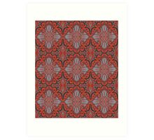 """Sliced pomegranat"" organic forms,  bohemian pattern, terracotta and grey tones Art Print"
