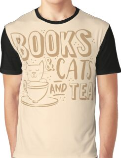 Books and CATS and tea Graphic T-Shirt