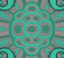 """Sliced pomegranat"" organic forms,  bohemian pattern, mint and grey tones Sticker"