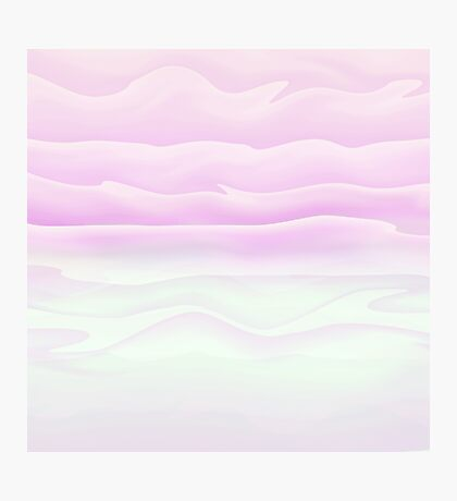 Girly Pink and White Watercolor Abstract Waves Photographic Print
