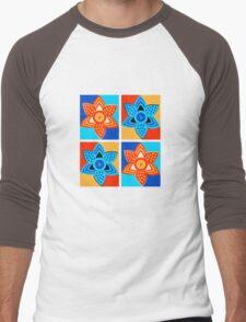 Daffodils retro style pattern Men's Baseball ¾ T-Shirt