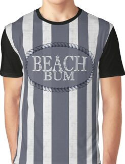 Beach Bum Bold White Washed Stripes Graphic T-Shirt