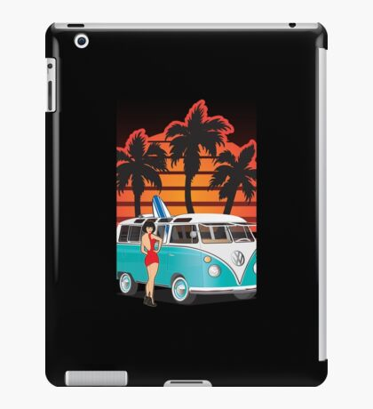 21 Window VW Bus with Palms and Girl Large iPad Case/Skin