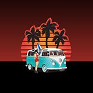 21 Window VW Bus with Palms and Girl by Frank Schuster