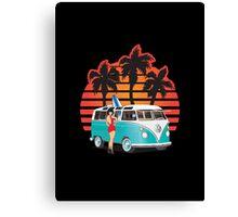 21 Window VW Bus Teal Samba Bus with Girl Canvas Print