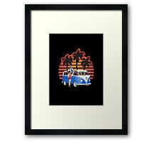 21 Window VW Bus Blue with Girl Framed Print