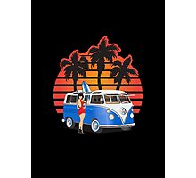 21 Window VW Bus Blue with Girl Photographic Print