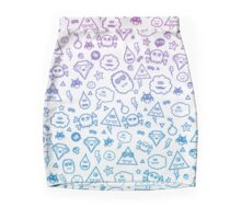 Crazy and Cute Monster Patter in blue pink Mini Skirt