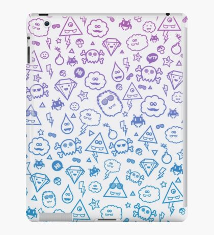 Crazy and Cute Monster Patter in blue pink iPad Case/Skin