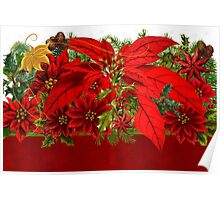 Poinsettia Holiday Bouquet Poster