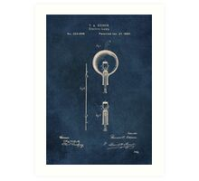 Electric lights Edison patent art Art Print