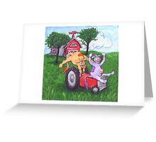Dairy Cows Steal a Tractor Greeting Card