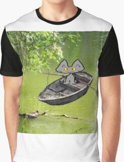 Cat Goes Fishing Graphic T-Shirt