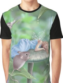 Sweet Dreams Sleeping Fairy & Mouse Graphic T-Shirt