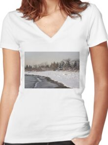 The Snow Just Stopped - a Winter Beach on Lake Ontario Women's Fitted V-Neck T-Shirt