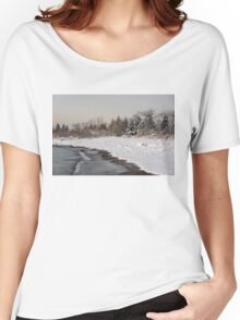The Snow Just Stopped - a Winter Beach on Lake Ontario Women's Relaxed Fit T-Shirt
