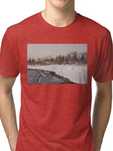 The Snow Just Stopped - a Winter Beach on Lake Ontario Tri-blend T-Shirt