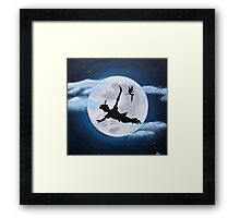 peter pan moon - acrylic painting Framed Print