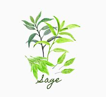 Watercolor Herb Sage Illustration Unisex T-Shirt