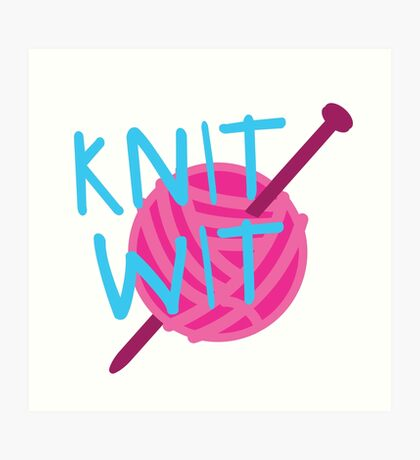 KNIT WIT with ball of wool Art Print