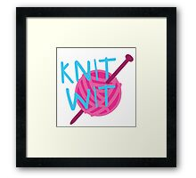 KNIT WIT with ball of wool Framed Print