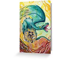 Dragon Guarding Pyrite Greeting Card