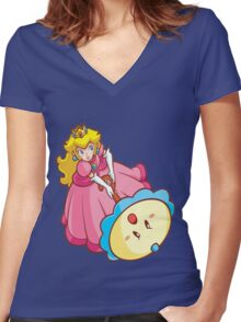 Princess Peach! - Attack Women's Fitted V-Neck T-Shirt