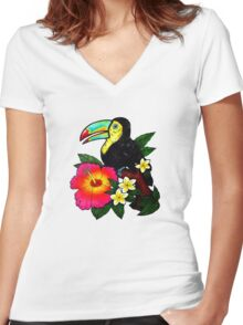 Tropical Toucan (Colour) Women's Fitted V-Neck T-Shirt
