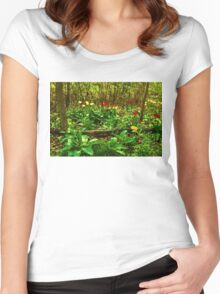 Green, Yellow and Red - Tulip Forest Impressions  Women's Fitted Scoop T-Shirt