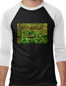 Green, Yellow and Red - Tulip Forest Impressions  Men's Baseball ¾ T-Shirt
