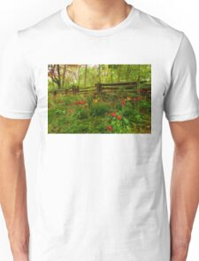 Dreamy Forest With Tulips - Impressions Of Spring Unisex T-Shirt