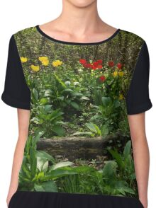 Bright Yellow and Red Tulips in the Forest - Enjoying the Beauty of Spring Chiffon Top