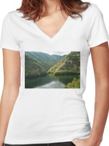 Green Mountain Lake Women's Fitted V-Neck T-Shirt
