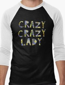 CRAZY CRAZY LADY (in flowers blooms) Men's Baseball ¾ T-Shirt