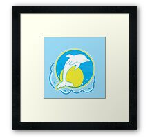 Dolphin Sun Yellow Framed Print