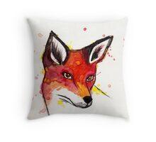 Splatter Fox Throw Pillow