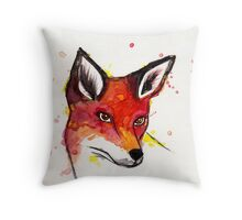 Splatter Fox Throw Pillow