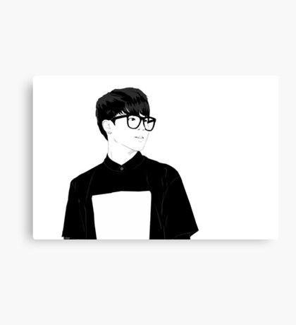 BTS Jimin in Glasses - Monochrome Canvas Print